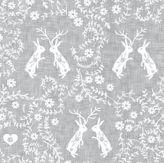 Romantik love story (grey linen) fabric by nouveau_bohemian on Spoonflower - custom fabric