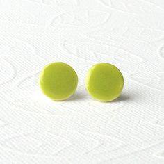 Round Petite Porcelain Earrings. Shiny Lime Green by MeadowWren, $12.00