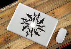 Shark Circle Vinyl MacBook Decal by hamiltonartsdesign on Etsy