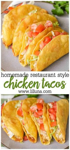 Home Made Doggy Foodstuff FAQ's And Ideas Super Easy Restaurant-Style Chicken Tacos . Simple Ingredients Including Shredded Chicken, Cheese, Lettuce, Tomatoes, and Corn Tortillas. Easy Restaurant, Delicious Restaurant, Luna Restaurant, Mexican Dishes, Mexican Food Recipes, Mexican Snacks, Mexican Meals, Chicken Taco Recipes, Taco Chicken