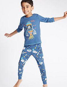 Pyjama 100% coton à imprimé fusée spatiale (du 1 au 8ans), BLEU ASSORTI