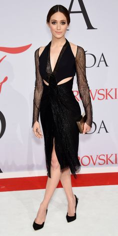 CFDA Awards 2015 Best Red Carpet Looks - Emmy Rossum in Dion Lee with Paul Andrew shoes and Eva Fehren jewelry.