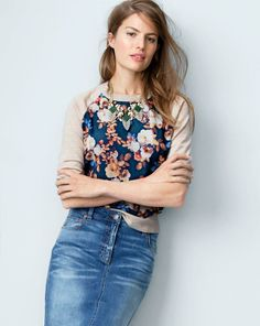 3452727fb1 J.Crew merino sweater in antique floral worn with the denim pencil skirt.  Love