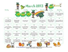 Our FAN Club (Fitness and Nutrition) handout for this month! From Nourish Interactive: Celebrate this March with our healthy March holiday calendar.  A new tip each day to help children and families promote nutrition and healthy habits in a fun way!