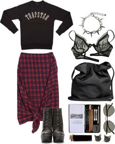 """plaid me"" by only-desire ❤ liked on Polyvore"