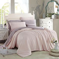 Light Pink and Thistle Pure Colored Luxury Simply Chic Cute Style Girls Bedroom 100% Modal Tencel Lyocell Full, Queen Size Bedding Sets - EnjoyBedding.com