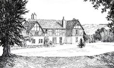 The Old Rectory, Strensham, Worcestershire by Mark Hilsden pen and ink ~ A5 x