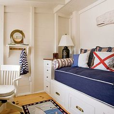 Nautical Retreat ~ This multipurpose room acts as an office, and because of the sleeping nook with daybed, it can also double as a guest room. Bold stripes and playful prints give this room a fun but not overdone nautical theme. Built In Daybed, Built In Bunks, Built Ins, Bedroom Themes, Bedroom Sets, Bedroom Decor, Coastal Bedrooms, Guest Bedrooms, Coastal Living