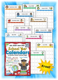 Grab this free monthly calendar for the 2020-2021 school year from Laura Candler's Teaching Resources! Behavior Calendar, Homework Calendar, Homework Planner, Homework Organization, Printable Calendar Pages, Free Calendar, Preschool Calendar, Instructional Planning, Calendar 2019 And 2020