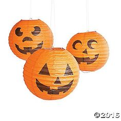 Enjoy jack-o'-lanterns all October long with these delightful lanterns! 10 Simple assembly required. Includes metal hangers. © OTC