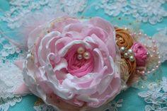 White Pink and Gold Flowers Headband Girls Hair by AldonasBoutique, $29.95