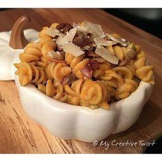 Pasta with pumpkin sauce, cinnamon sugar pepitas and shaved Parmesan...delish #mycreativetwist #pumpkin