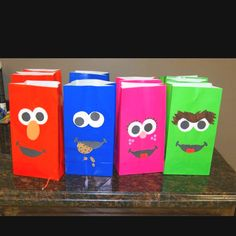 Sesame Street party favor bags I made for Ls bday party