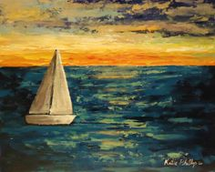 Sailboat painting Sailing on the Sea - Palette knife painting by Katie Phillips on 8x10 canvas panel, $52.00