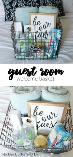 Guest Room Welcome Basket- perfect touch to welcome friends and family into your. Guest Room Welcome Basket- perfect touch to welcome friends and family into your home. Overnight essentials and a free doorknob & Not Disturb& printable. Guest Room Decor, Decoration Bedroom, Guest Room Office, Office Decor, Decor Room, Bedroom Office, Home Decor, Wall Decor, Guest Basket