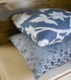 grey-blue cushions / velvet / geometric /