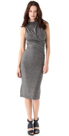 T by Alexander Wang Marled Jersey Twist Midi Dress....very nice work dress!