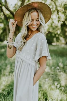 grey + white embroidered dress with flutter sleeves - ROOLEE