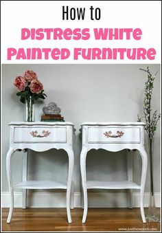 See how to distress furniture for that romantic distressed look on white painted furniture. These white painted tables get a distressed paint look makeover White Painted Furniture, Furniture Diy, Furniture Makeover, Distressing Painted Wood, Furniture Inspiration, Painted Furniture For Sale, Painted Furniture Colors, Repurposed Furniture, Diy Furniture Projects