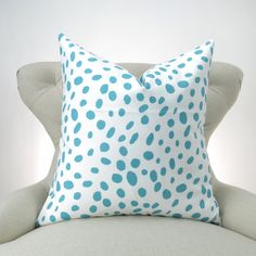 Aqua Blue and White Pillow Cover MANY SIZES Coastal Blue by DeliciousPillows