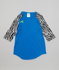 Love this Electric Blue Zebra Raglan Baseball Tee by Soffe on #zulily! #zulilyfinds