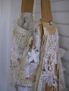 Purse Leather and Lace Gorgeous Crazy Quilted by VioletRose1930, $399.00