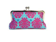 Aqua Blue Dark Pink Demask Pattern Silver Metal Frame Clutch, Evening Bag, Bridal Party Clutch