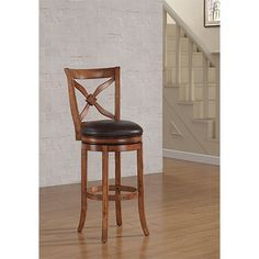 Provence Light Oak Counter Stool With Bourbon Bonded Leather Seat American Woodcrafters Co