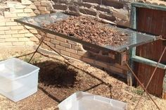 Home-made pecan cleaning table
