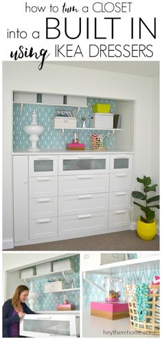 IKEA HACK how to turn a standard closet into a built in for craft storage using . - Home Decor -DIY - IKEA- Before After Ikea Dresser, Closet Dresser, Diy Dressers, Dresser Ideas, Ikea Hackers, Closet Bedroom, Master Closet, Bathroom Closet, Diy Bedroom