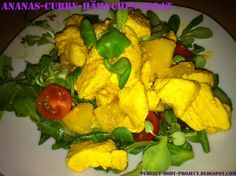 Ananas-Curry-Hähnchen-Salat, salad, curry, healthy