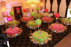 QUINCENERA NEON PARTY   neon party centerpieces using balloons