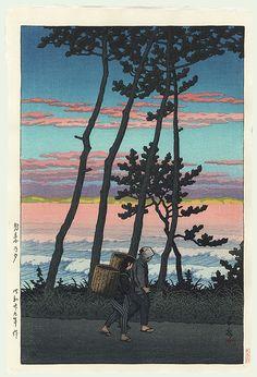 Kawase Hasui- Lumière du soleil couchant à Nakoso 1954