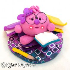 Lolly Reads a Book Figurine - Polymer Clay Character StoryBook Miniature Scene by KatersAcres