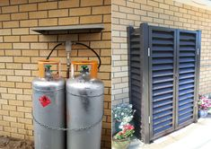 Gas Bottle Protector Screens available in New Zealand. Hiding the unsightly 45kg LPG gas bottle installed on the side of your home. Hideawayz gas bottle protectors hide and secure the gas bottles.