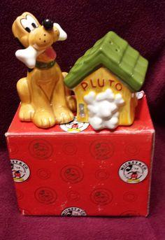 Vintage Enesco  Pluto Dog House Disney Salt Pepper Shakers with Box figurine