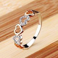 Vancaro Women's Fashion Rings Romantic Heart Cubic Zirconia 925 Silver Plated Gold Ring