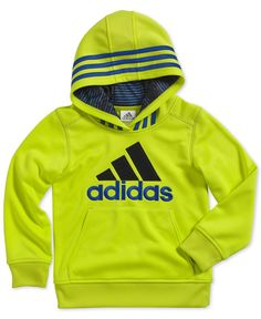 Look at this adidas Yellow Logo Hoodie - Toddler & Boys by adidas Toddler Boys, Baby Kids, Kids Wear Boys, Baby Suit, Kids Wardrobe, Pullover Hoodie, Brand Collection, Adidas Fashion, Sport Wear