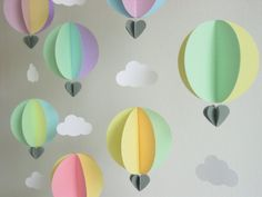 Garland-Hot Air Balloons & Clouds-3D-Pastel Colours-Baby Mobile-Nursery Decor-Baby Shower-Decoration-Birthday-Children-Crib Mobile-Paper