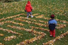 Looking for a fun outdoor fall activity to do with your kids? Make a backyard leaf maze or leaf labyrinth! Navigational skills, spacial sense and exercise in the fresh Fall air! Autumn Activities For Kids, Outdoor Activities For Kids, Summer Crafts For Kids, Preschool Ideas, Preschool Activities, Kids Crafts, Craft Projects, Craft Ideas, Outdoor Crafts