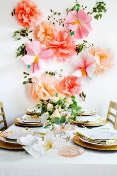 Summer Table Decorating Ideas Gold and Orange and Pink and White Table Setting