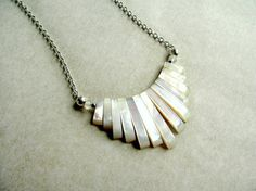 Mother of Pearl Necklace, Small Fan Necklace, M.O.P. Necklace, Mop Necklace, Natural Nacre/Shell Necklace, White Boho Necklace