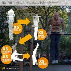 mucle-up, leg raise, pistol squat, and handstand. advanced workout