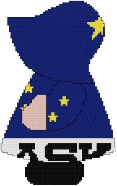 State of Alaska Sunbonnet Sue cross stitch pattern using the state's flag. Pattern is for beginners. Other states are available on Marti Harrington Designs Etsy website.