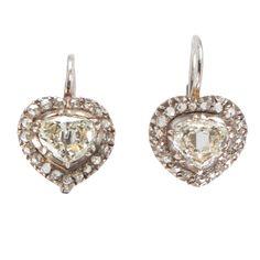 Victorian Gold, Silver & Diamond Heart Earrings, c. 1860