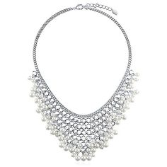 """BERRICLE Silver-Tone Simulated Pearl Fashion Bib Statement Necklace 18"""" 2"""" Extender -- Additional details @"""