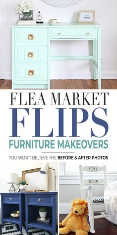 A little creative elbow grease and some inspiration from these amazing designers and bloggers, and you will be well on your way to flipping furniture and your other fabulous flea market finds into decorating gold! #fleamarketflips #diyhomedecor #flippingfurniture #feamarketfinds #thriftstoreflips #thriftstorefinds #before&after #makeover #furnituremakeovers #TBD #budgetdecorating #decoratingonabudget