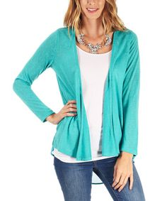 Another great find on #zulily! Aqua Layer-Back Open Cardigan by Pinkblush #zulilyfinds