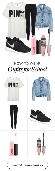 """""""FIRST DAY OF SCHOOL OUTFIT"""" by caraelizabett on Polyvore featuring Victoria's Secret, Polo Ralph Lauren, NIKE, Maybelline and MAC Cosmetics https://twitter.com/faefmgianm/status/895095114724327424"""