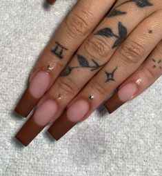 Aycrlic Nails, Glam Nails, Hair And Nails, Stylish Nails, Trendy Nails, Fall Acrylic Nails, Fire Nails, Pin On, Brown Nails